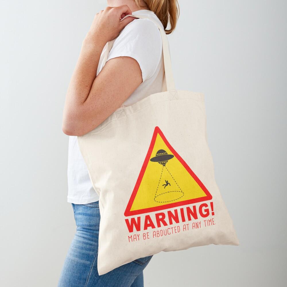 Warning Abduction Tote Bag