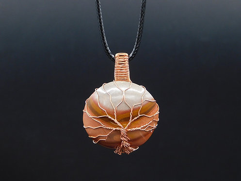 Polychrome Jasper Copper Tree Wrapped Pendant
