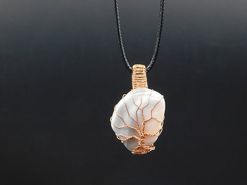 Pink Botswana Agate Copper Tree Wrapped Pendant