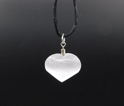 Selenite Heart Pendant