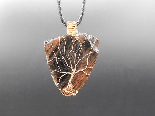 Mahogany Obsidian Copper Tree Wrapped Pendant
