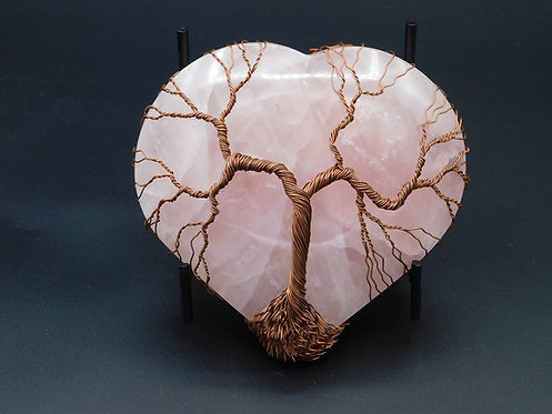 Large Rose Quartz Heart Copper Tree Wrapped (1.75 lbs)