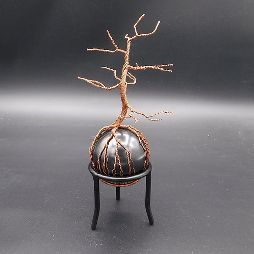 "7"" Copper Tree on a 2.5"" Shungite Sphere w/stand"