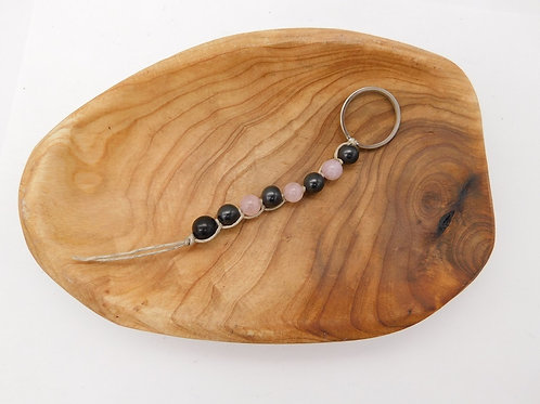 Shungite & Rose Quartz Bead Keychain