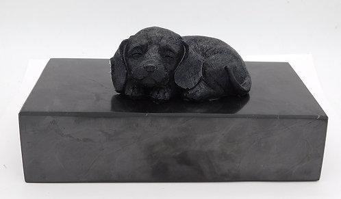 Shungite & Silver Powder Resin Dog Totem