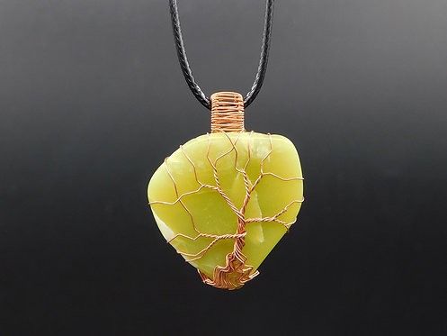 WA Serpentine Copper Tree Wrapped Pendant