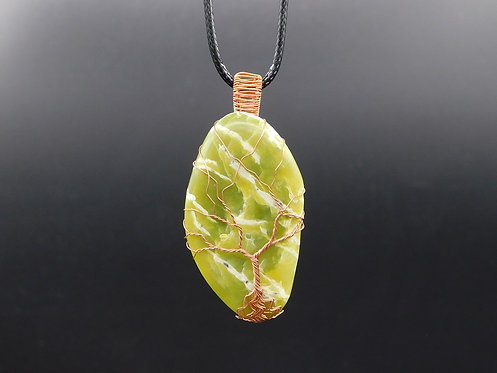 Polished WA Serpentine Copper Tree Wrapped Pendant
