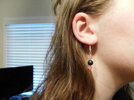 8mm Shungite & Rose Quartz Earrings