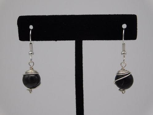 10mm Silver Shungite Earrings