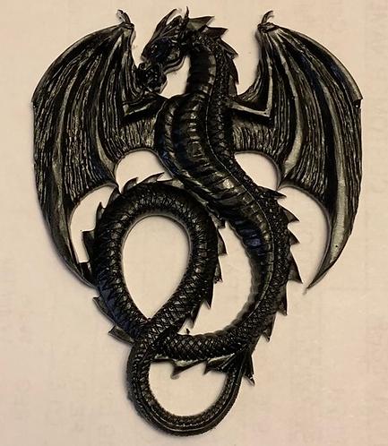 Shungite & Silver Powder Resin Dragon Totem (flat)