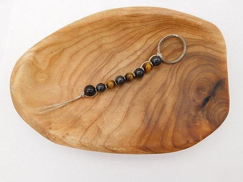 Shungite & Tiger's Eye Bead Keychain