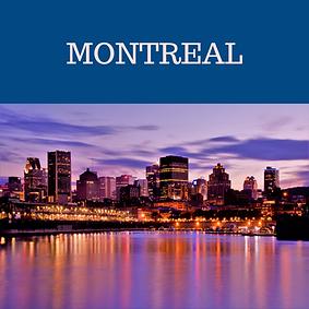 Montreal, Quebec, Kanada şehrinin gece manzarası.