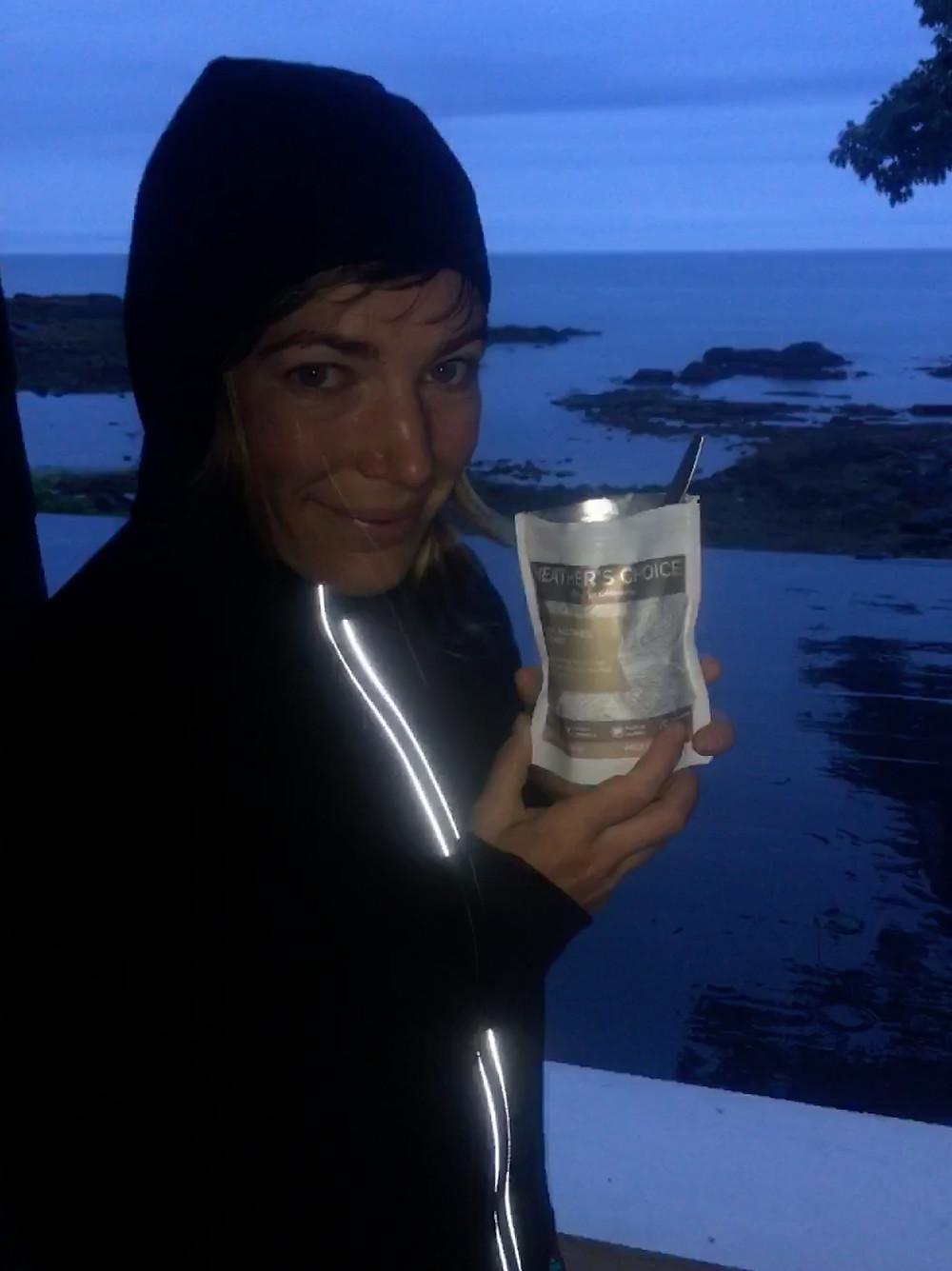 Pre-dawn breakfast of Heather's Choice Banana Nutmeg Breakfast