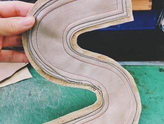 <靴作り>ミシン練習の成果