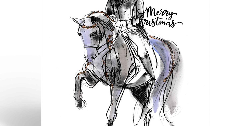 Greeting Card Christmas - Merry Dressage