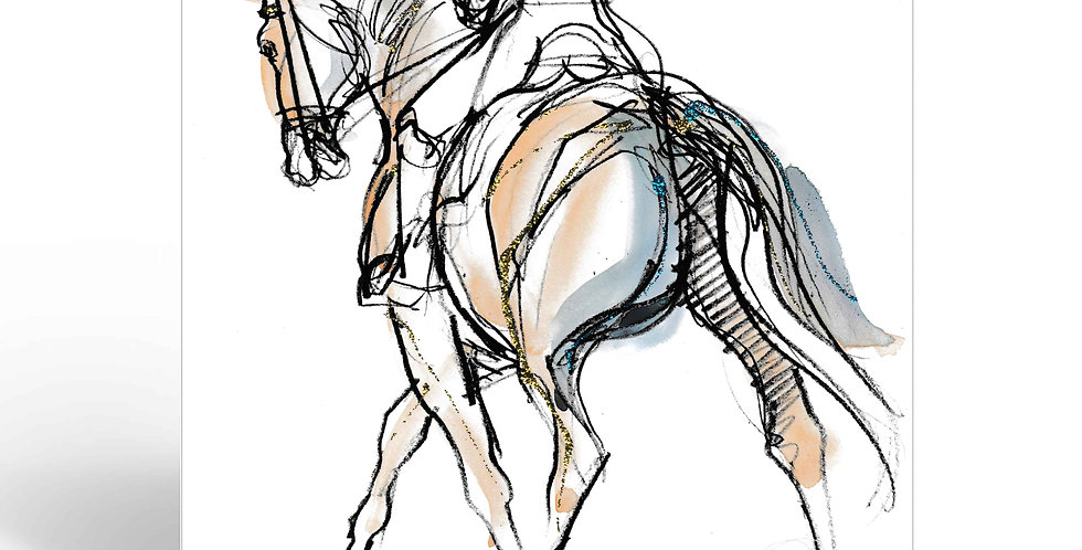 Greeting Card - Dressage from behind