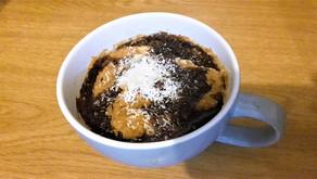 Amarula, Banana, Coconut Mug Cake with Chocolate Sauce