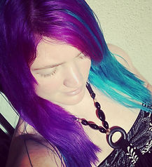 Purple and turquoise hair - The Night Kitty