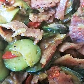 Keto Zucchini Bacon Mushroom Warm Salad