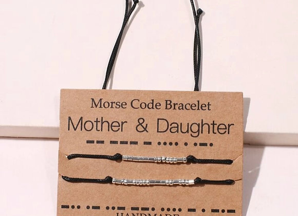 "Morse Code ""Mother & Daughter"" Bracelet"