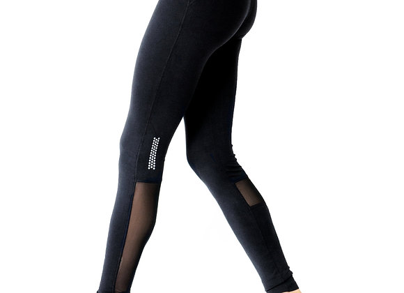 Athletic Leggings With Reflective Strips and Mesh Panels