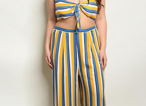 Womens Stripes Plus Size Top & Pants