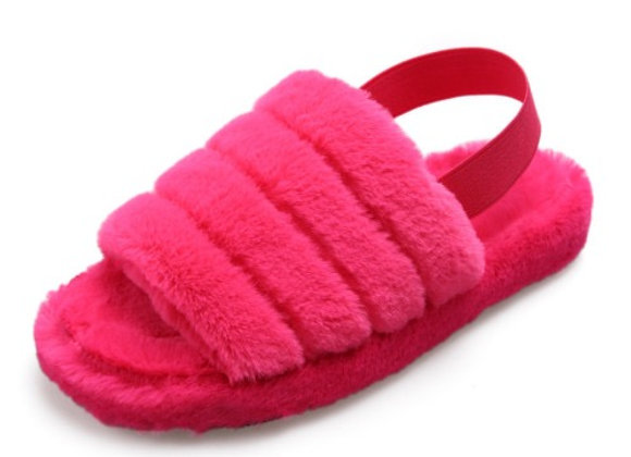 Fur Slippers with Strap