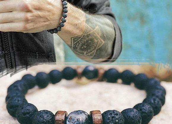 Men's Natural Moonstone Tibetan Buddha Chakra Lava Stone Diffuser Bracelets