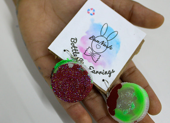 Bunnujo Bottle Cap Earrings-Strawberry