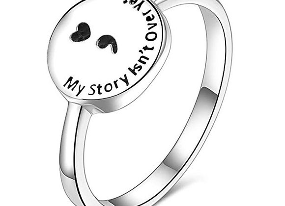 My Story Isn't Over Yet Semicolon Ring Silver Circle