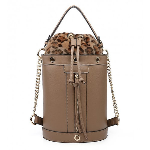 Maddy's Taupe Leather Look Drawstring Tote