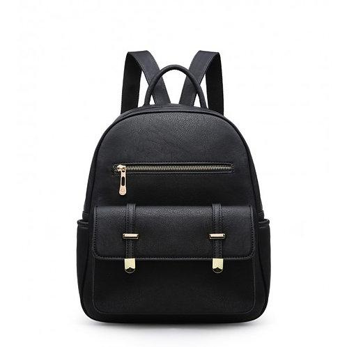 Elsa Multi-pocket Two Compartment Black Backpack