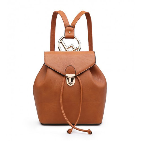 Maddy's Metal Ring Backpack Brown