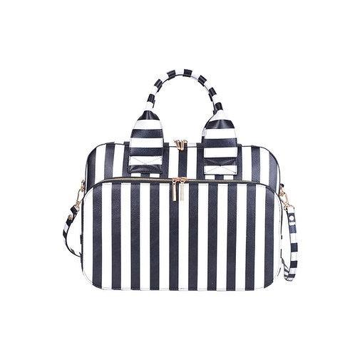 Lady Boss Black/White Striped Briefcase Bag