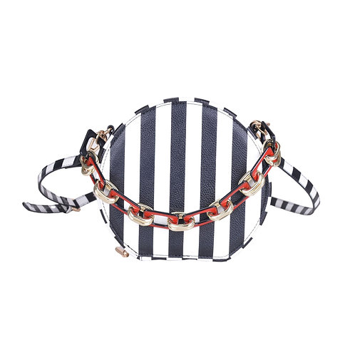 Lady Boss Black White Striped Round Bag