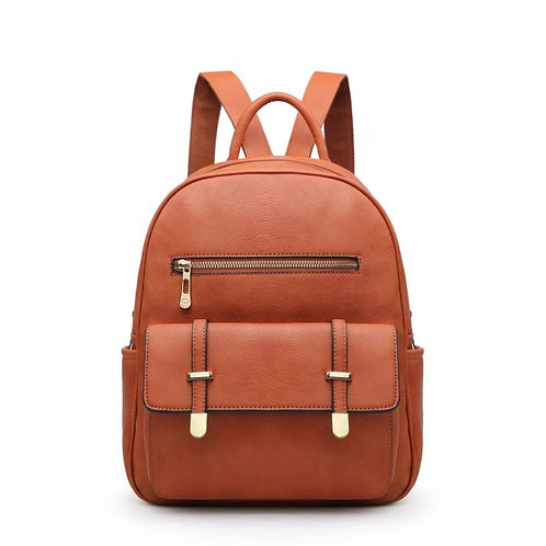 Elsa Multi-pocket Two Compartment Brown Backpack