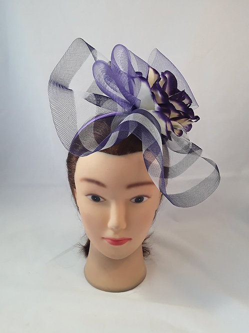 CassyD Two Tone Purple & White Fascinator