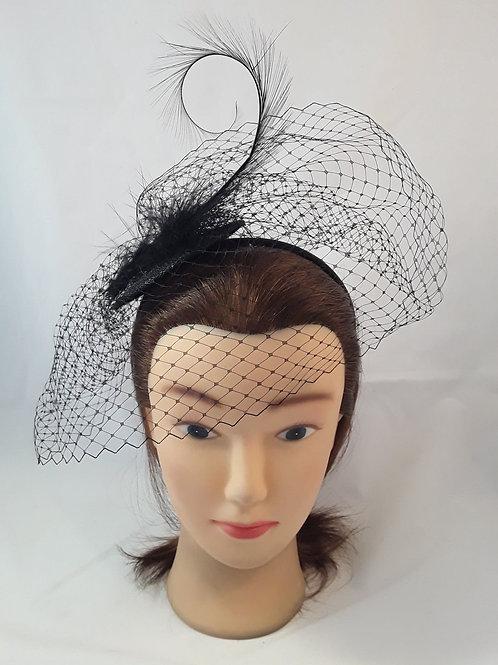 CassyD Elegant Feather Netting Fascinator