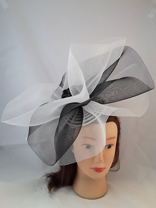 CassyD Black & White Flamboyant Fascinator