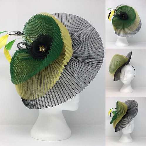 CassyD Jamaican Style Pleated Fascinator
