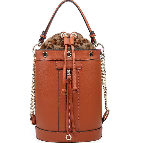 Maddy's Brown/Tan Leather Look Drawstring Tote