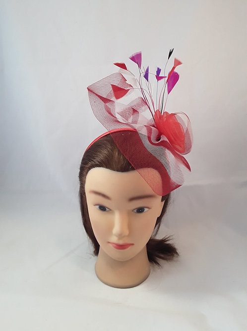 CassyD Two Tone Red/White Fascinator