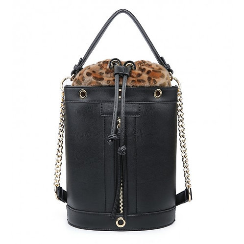 Maddy's Black Leather Look Drawstring Tote