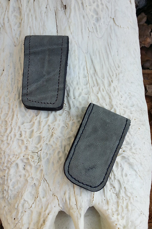 Grey elephant hide money clip