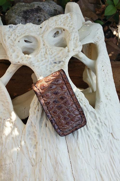Alligator money clip brown