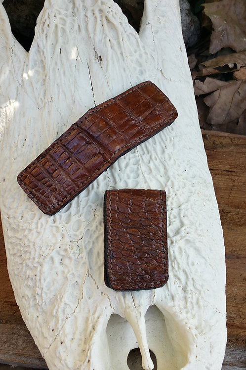 Brown Alligator money clip