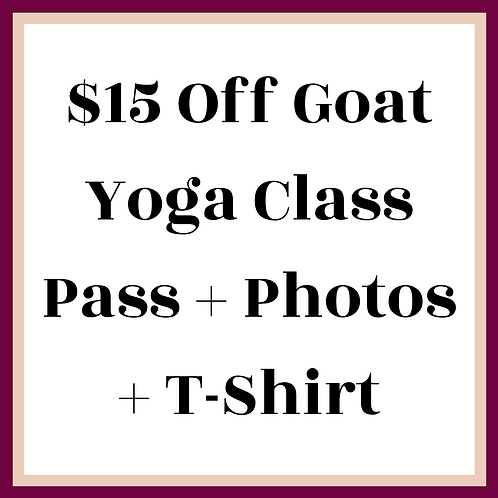 $15 Off Your Goat Yoga Class Pass + Photos + T-Shirt Package