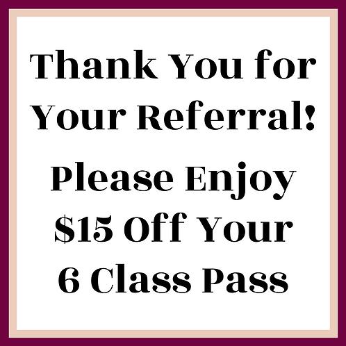 $15 Off Your Next 6 Class Pass