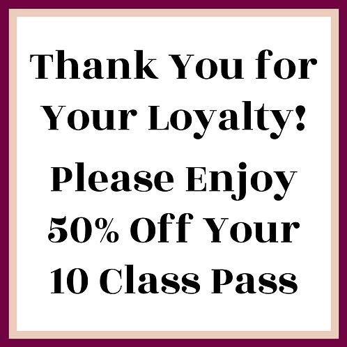 50%Off Your Next 10 Class Pass
