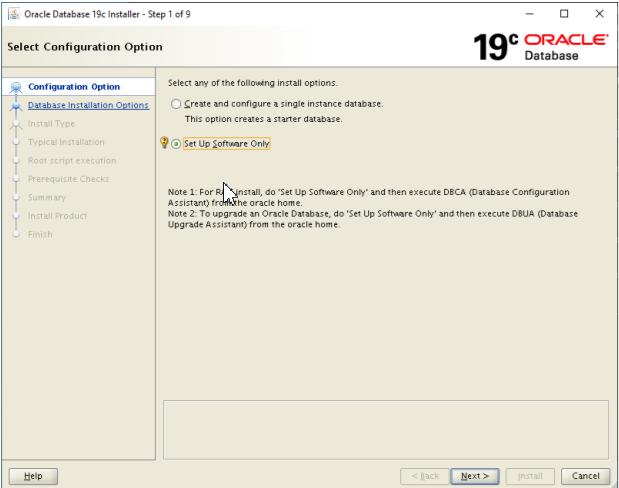 oracle database 19c installer - set up software only